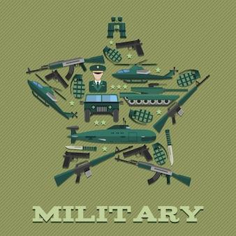 Composición del ejército estelar combinada en forma de estrella