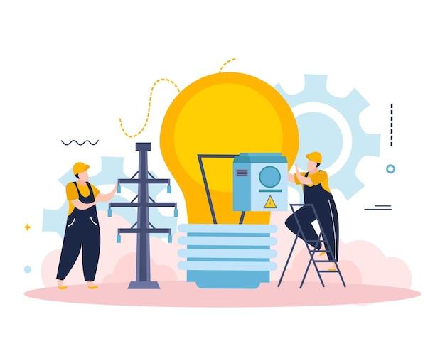 Composición de electricidad e iluminación con personajes de electricistas con lámpara y equipo de línea eléctrica