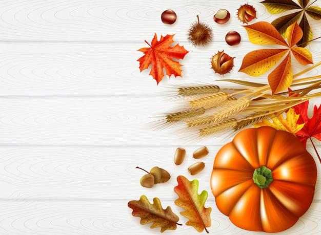Composición elegante del día de acción de gracias con colores otoñales y diferentes calabazas.