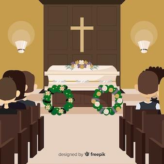 Composición elegante de funeral con diseño plano