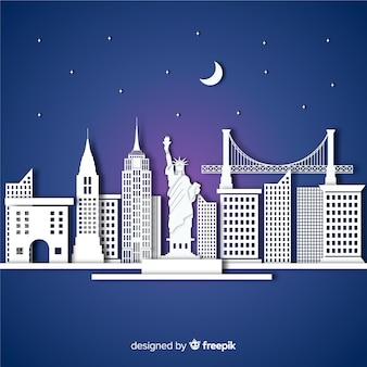Composición elegante de monumentos con diseño plano