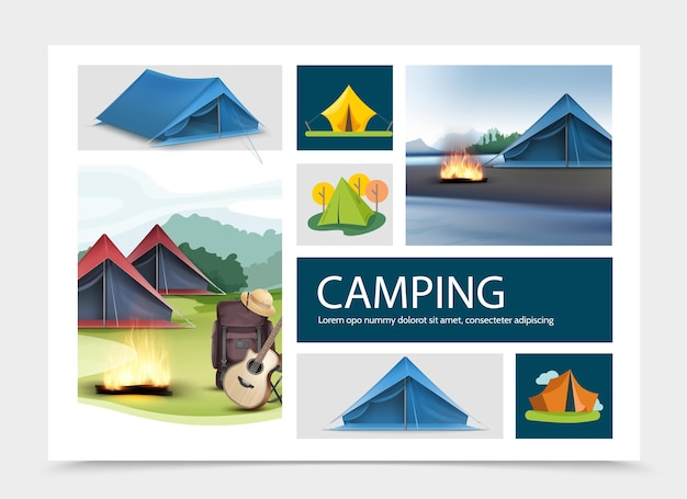 Composición de elementos de camping con carpas realistas y planas, médula de guitarra, sombrero, fogata, mochila, paisajes naturales
