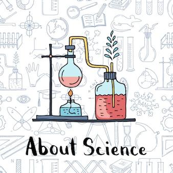 Composición de elementos de ciencia o química bosquejada con letras en la ilustración de fondo de elementos de ciencia