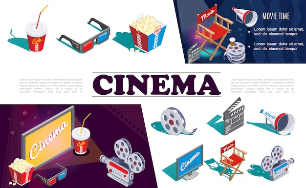 Composición de elementos de cine isométrica con cámara gafas 3d palomitas de maíz película de carrete de director silla megáfono claqueta pantalla