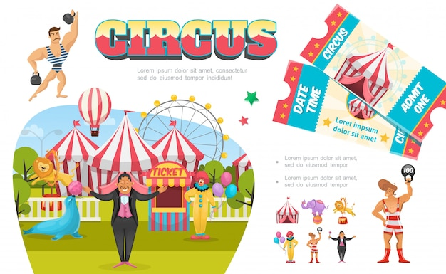 Composición de elementos de circo plano con tienda de magos payaso de payaso cabina de ferris boleto de león elefante marino realizando diferentes trucos