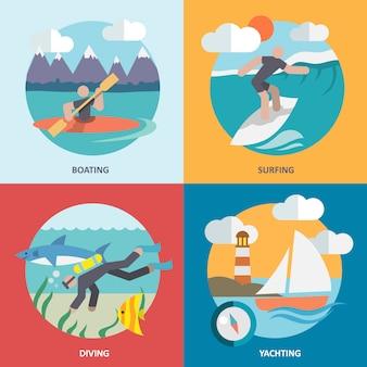 Composición de elementos de deportes acuáticos conjunto plana