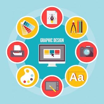 Composición de elementos de diseño gráfico.