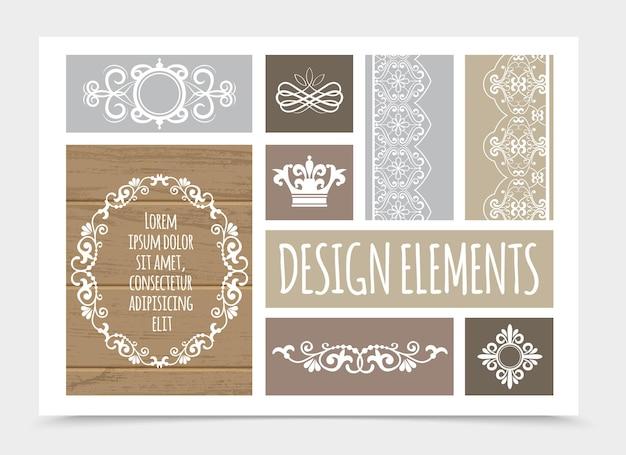 Composición de elementos de diseño vintage con remolinos florales rizos viñetas corona decorativa líneas caligráficas divisores ornamentales, ilustración