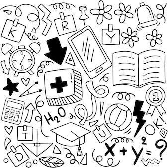 Composición de elementos de doodle de regreso a la escuela