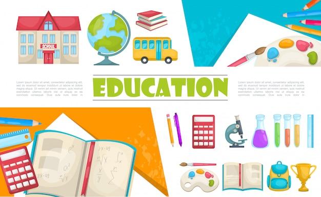 Composición de elementos de educación plana con edificio escolar autobús libros calculadora tubos químicos pluma lápiz microscopio pintura paleta bolsa taza