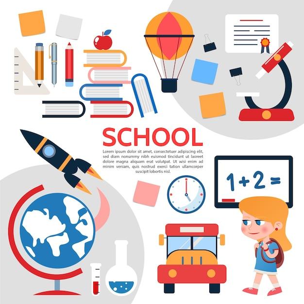 Composición de elementos escolares planos