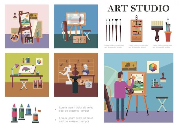 Composición de elementos de estudio de arte plano con hombre dibujo imagen artista lugar de trabajo esculturas diferentes herramientas y equipos de pintura profesional