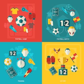 Composición de elementos de fútbol plana