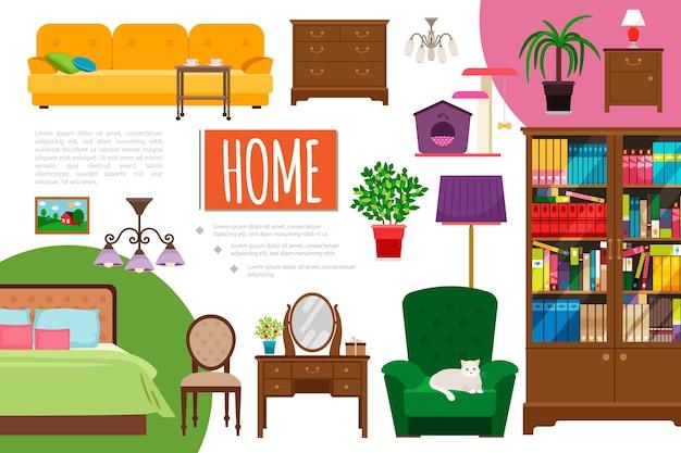 Composición de elementos interiores de casa plana