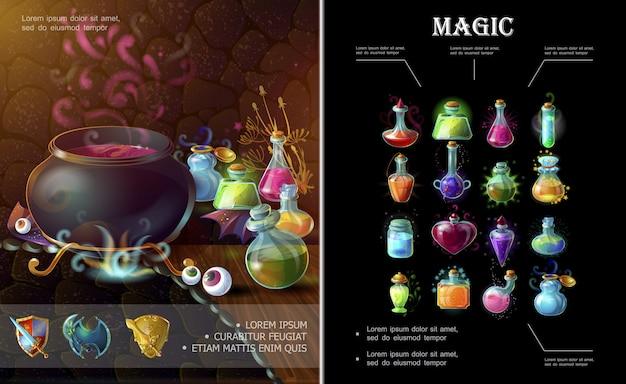 Composición de elementos del juego de dibujos animados con botellas de caldero de brujas de armas medievales y frascos de diferentes pociones mágicas de colores y elixires