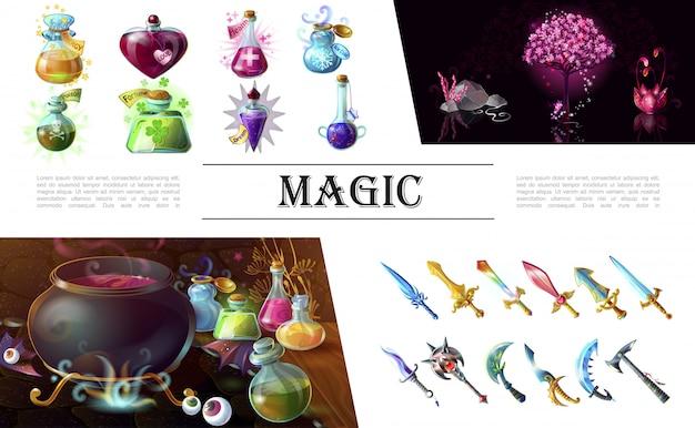 Composición de elementos del juego de dibujos animados con coloridas espadas medievales maza hacha árbol de fantasía caldero de flores y botellas de pociones mágicas
