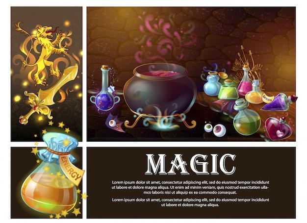 Composición de elementos del juego de dibujos animados con espada heráldico león real ojos humanos bruja caldero y botellas de pociones mágicas