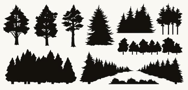 Composición de elementos de la naturaleza vintage con siluetas de árboles y arbustos negros