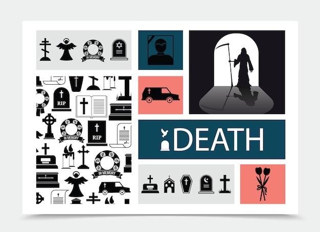 Composición de elementos negros de muerte plana