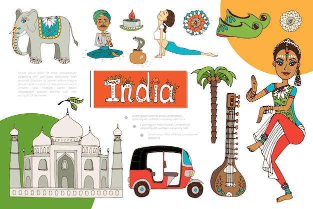 Composición de elementos planos de la india con mujer india niña haciendo yoga encantador de serpientes elefante mandala patrones veena tuk tuk vela taj mahal zapatos