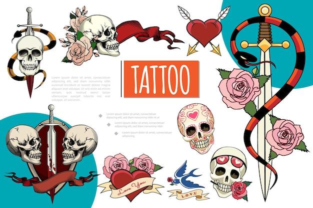 Composición de elementos de tatuaje dibujados a mano con cráneos humanos espada en sangre serpientes flores color de rosa tragar cintas corazón perforado con flechas ilustración,