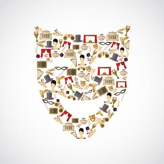 Composición de elementos teatrales, forma de máscara.