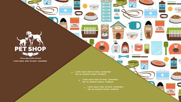 Composición de elementos de tienda de mascotas planas