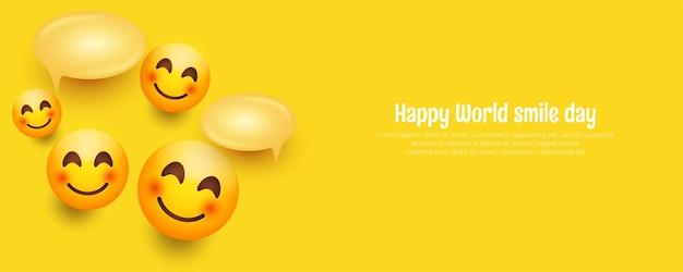 Composición de emojis de banner del día mundial de la sonrisa con espacio de texto