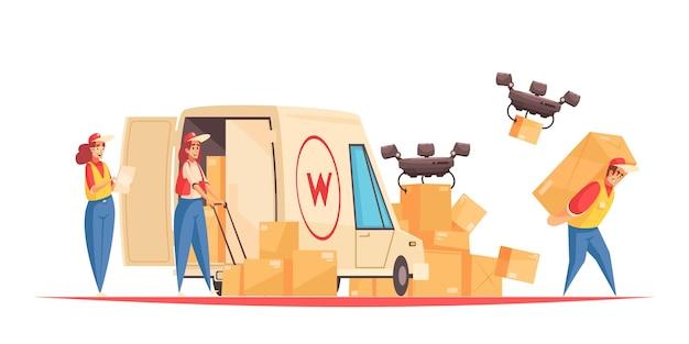 Composición de la entrega con empleados del servicio postal, personajes de garabatos con camionetas y drones quadcopter que envían cajas de paquetes