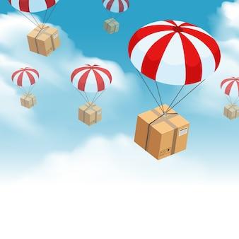 Composición de entrega de paquetes de paracaídas