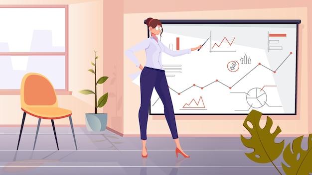 Composición de entrenador financiero con escenario de oficina plana y personaje femenino cerca del tablero con dibujos de diagramas