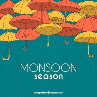 Composición de época del monzón dibujada a mano