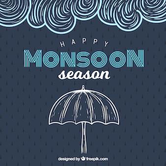 Composición de la época del monzón dibujada a mano