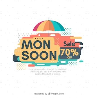 Composición de época del monzón con diseño plano