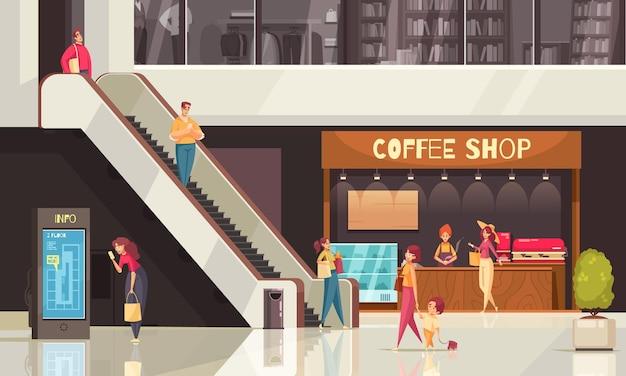 Composición de escaleras mecánicas de compras planas coloreadas con cafetería y otras tiendas alrededor