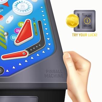 Composición de escritorio de pinball de dibujos animados de colores con la mano del niño o niña en el escritorio e instrucciones pruebe su suerte