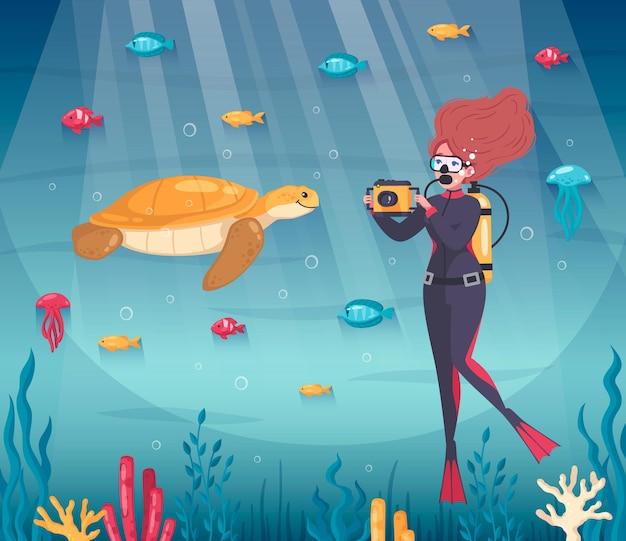 Composición de esnórquel de buceo con peces de dibujos animados y personaje femenino tomando fotos de tortugas bajo el agua