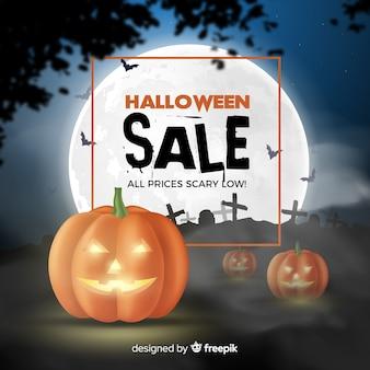 Composición espeluznante de rebajas de halloween con diseño realista