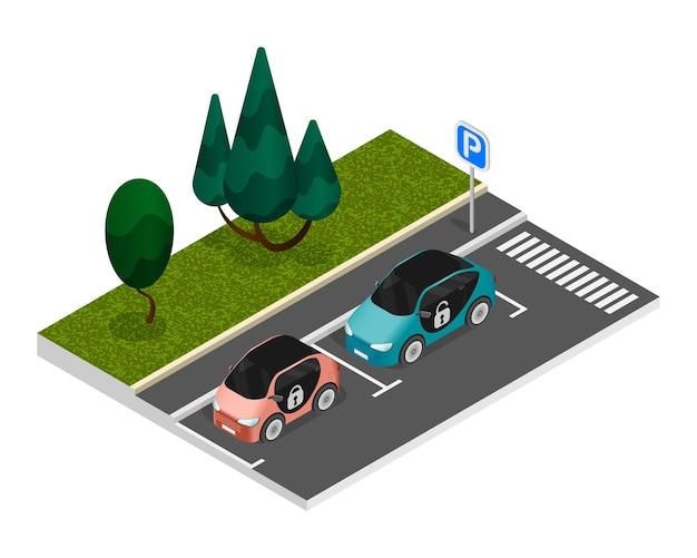 Composición de estacionamiento de colores isométricos con dos autos debidamente estacionados parados en el borde de la carretera en un estacionamiento