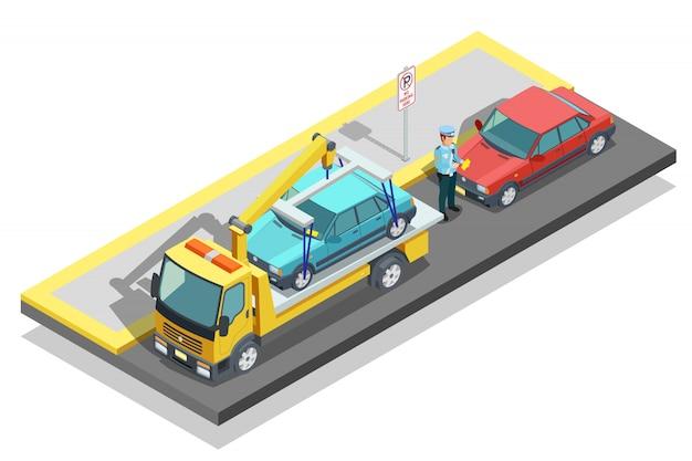Composición de estacionamiento isométrica