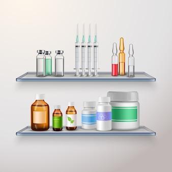 Composición de estantes de productos sanitarios