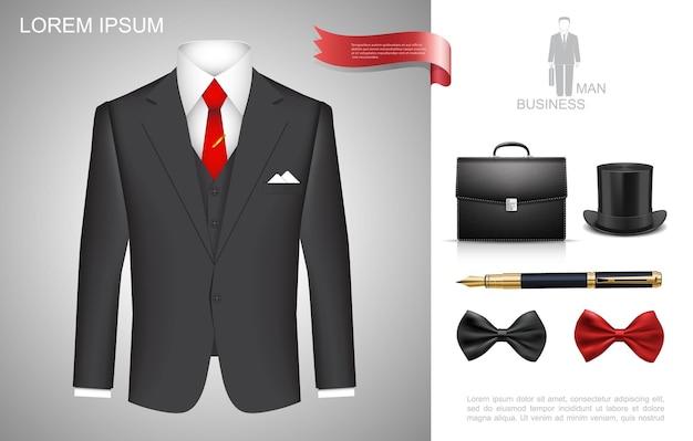 Composición de estilo de hombre de negocios realista con traje de negocios maletín cilindro sombrero pluma rojo y negro pajaritas ilustración,