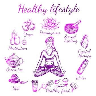 Composición de estilo de vida de boceto de yoga