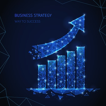 Composición de estrategia empresarial de estructura metálica poligonal con texto editable e imágenes de columnas y partículas brillantes de flecha