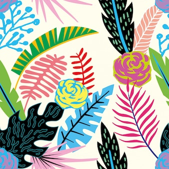 Composición exótica abstracta de hojas tropicales. fondo de pantalla de playa selva dibujos animados de patrones sin fisuras
