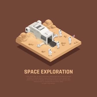 Composición de exploración espacial con ilustración isométrica de símbolos de astronautas y espacio exterior