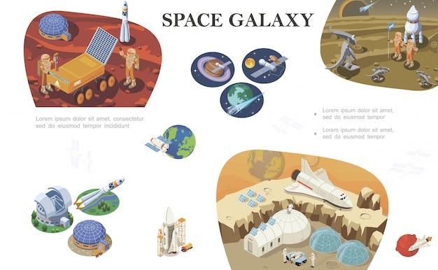 Composición de exploración espacial isométrica con astronautas reunidos con extraterrestres bases cósmicas lanzadera cohete en diferentes planetas