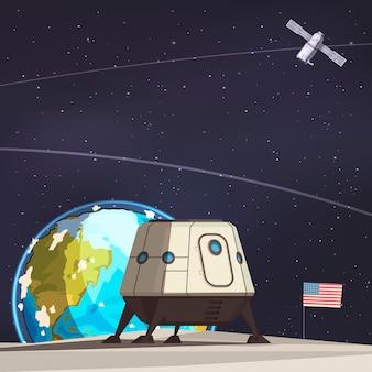 Composición de exploración espacial con rover lunar y satélite terrestre artificial volando
