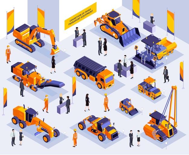Composición de exposición de construcción isométrica con escenario interior de stand de exposición con vehículos de maquinaria vial e ilustración de personas