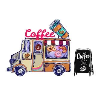 Composición exterior de cafetería
